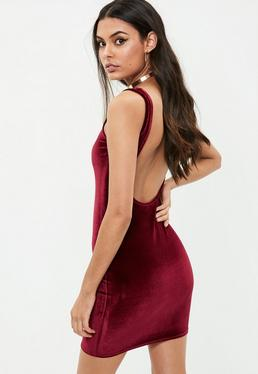 Burgundy Velvet Scoop Back Bodycon Dress
