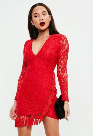 Robe de soirРіВ©e rouge en dentelle