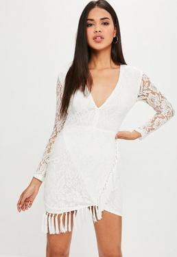 White Lace Tassel Hem Dress