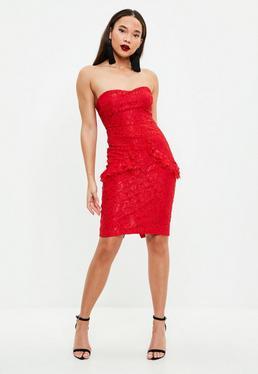 Red Lace Bandeau Midi Dress