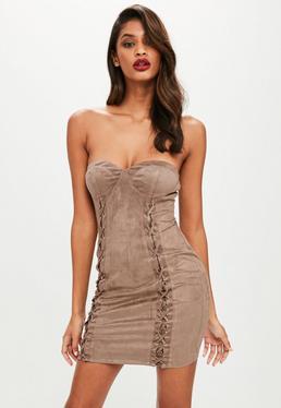 Brązowa zamszowa sukienka mini