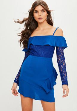 Blue Bardot Lace Shift Dress