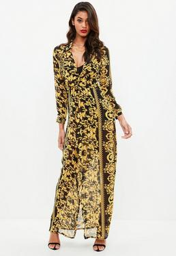 Vestido largo con estampado barroco en negro