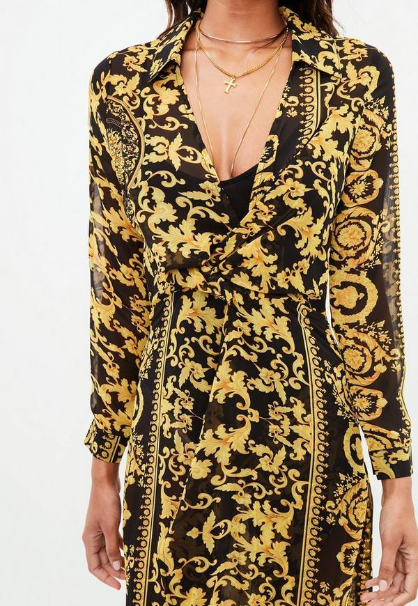 Black Chain Print Maxi Dress Missguided