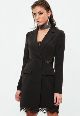Czarna sukienka marynarka z koronkowym obszyciem