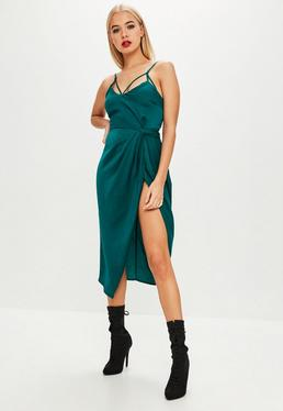Green Twist Front Detail Midi Dress
