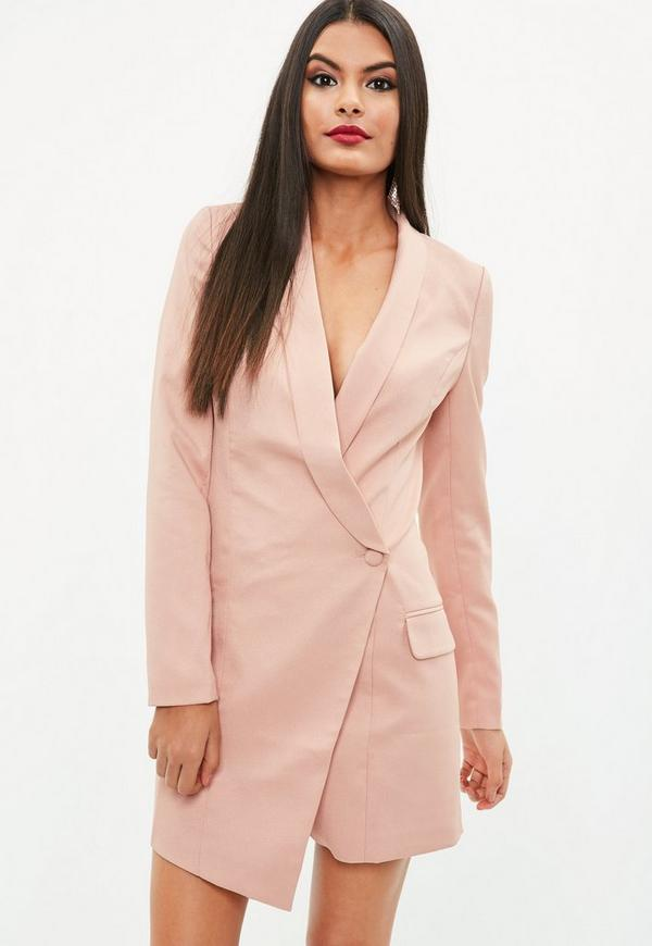 pink asymmetric blazer dress missguided. Black Bedroom Furniture Sets. Home Design Ideas