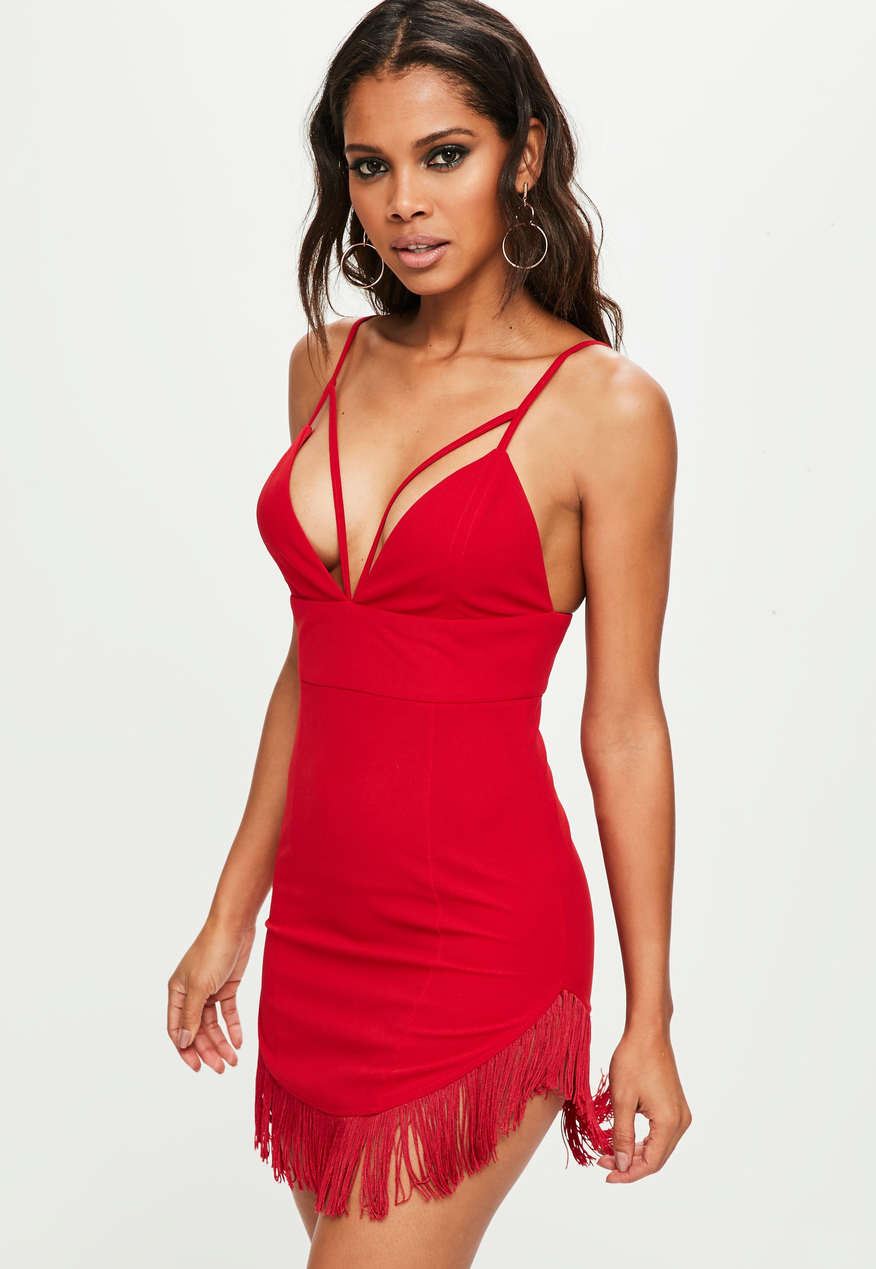 Red Tassel Hem Mini Dress Red Tassel Hem Mini Dress