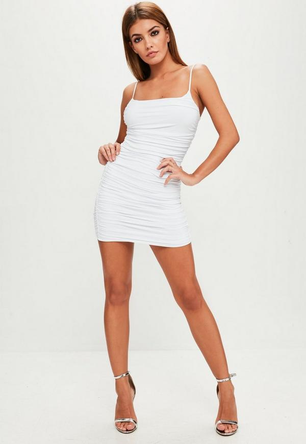 White Slinky Ruched Side Bodycon Dress Missguided