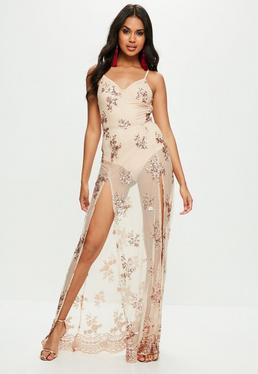 Nude Strappy Plunge Sequin Maxi Dress