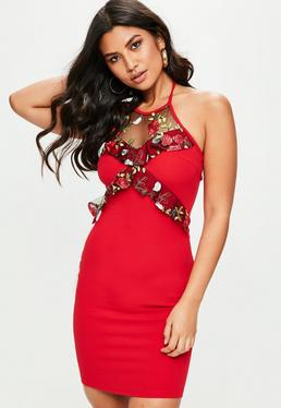 Red Floral Mesh Bodycon Dress