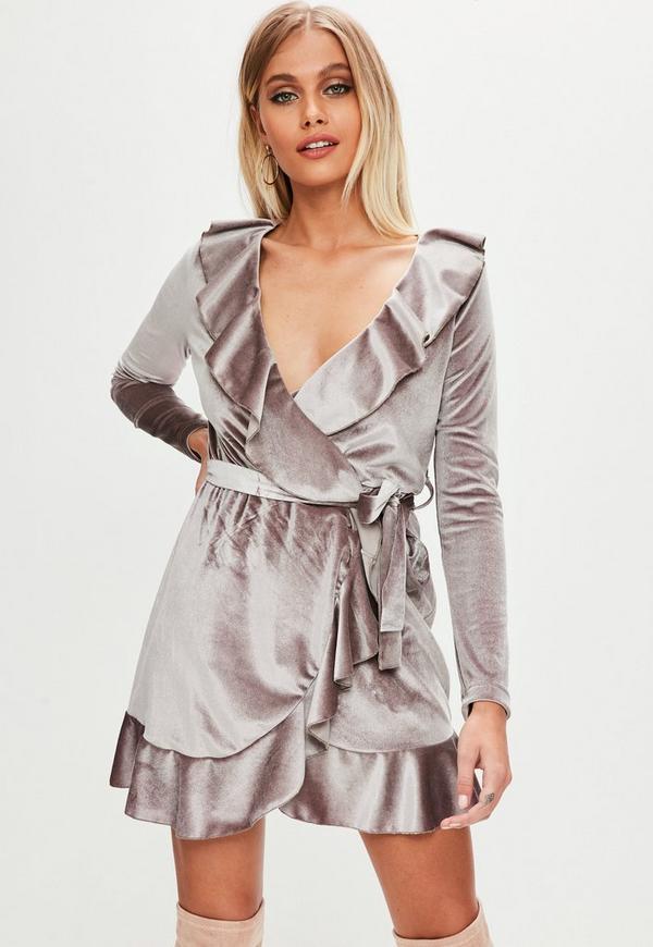 242ed57464 Purple Velvet Plunge Tie Waist Tea Dress. 15