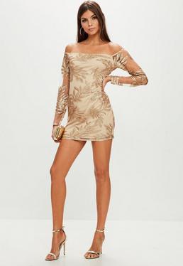 Gold Sequin Bardot Bodycon Dress