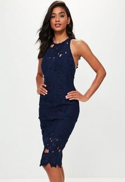 Blue Crochet Lace Midi Dress