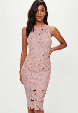 Pink Crochet Lace Midi Dress