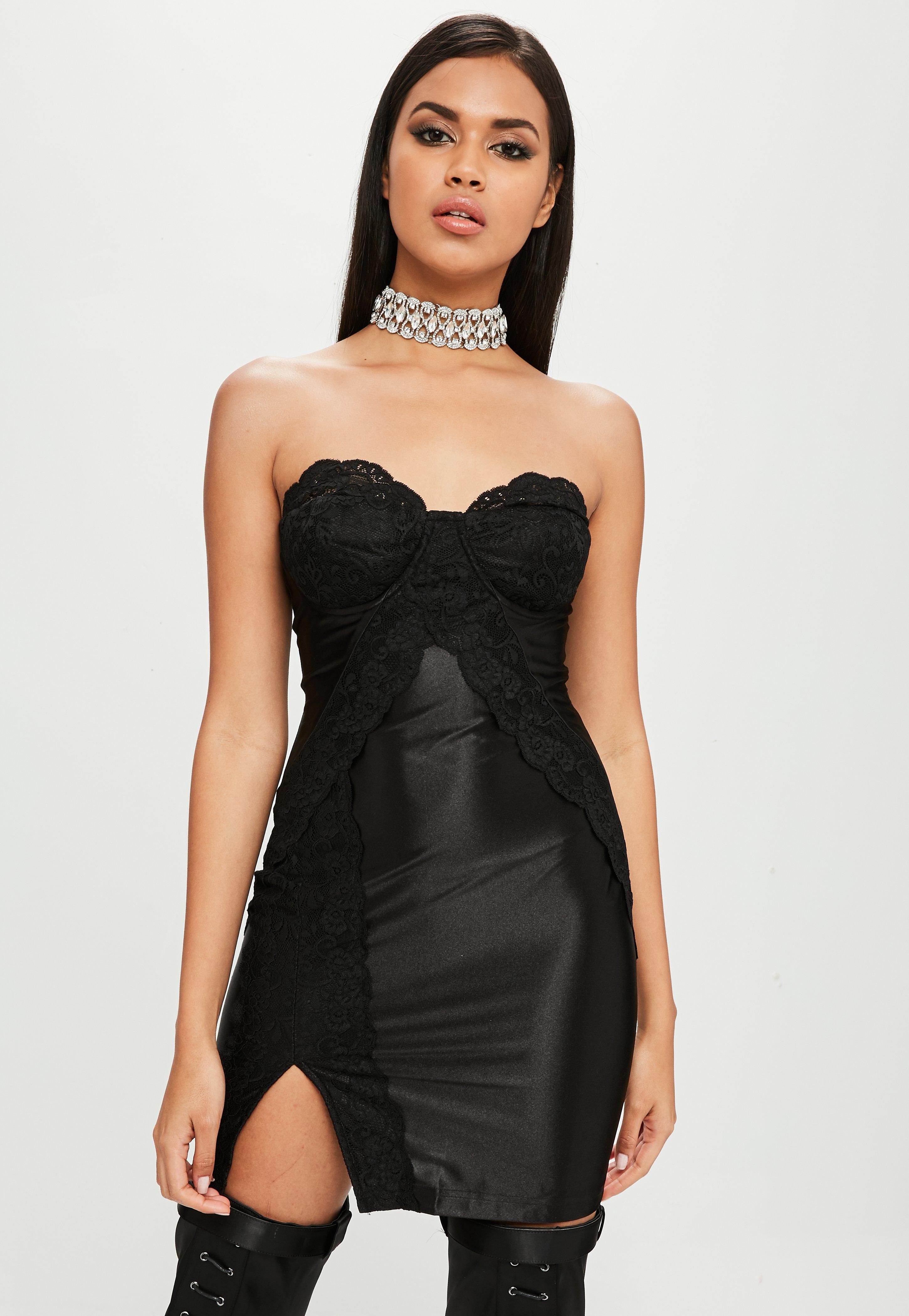 Strapless Short Black Frilly Dress