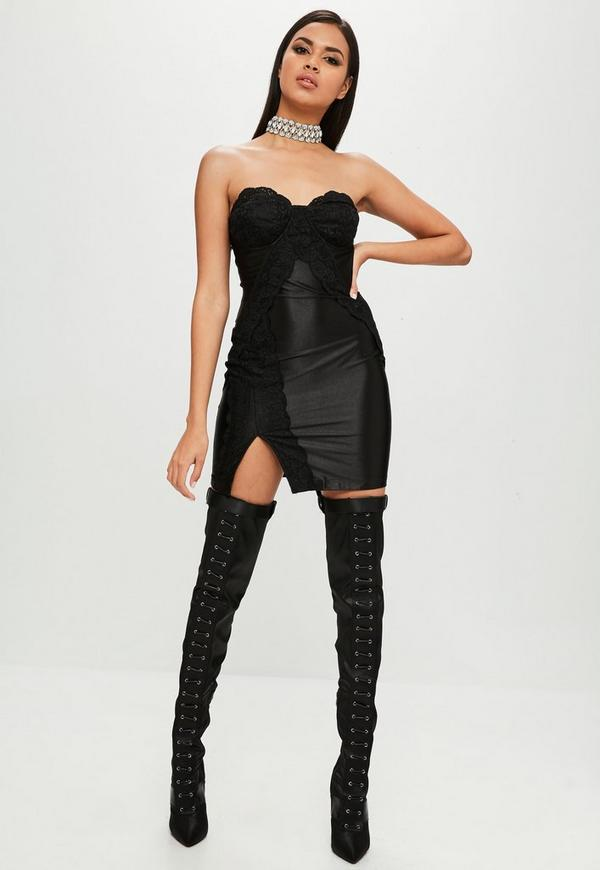 Carli Bybel x Missguided Black Lace Side Dress | Missguided