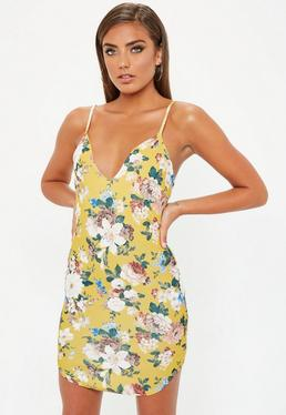 Yellow Strappy Floral Dress