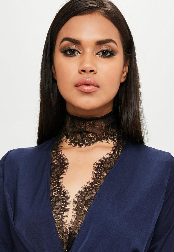 Carli Bybel Youtube Makeup: Carli Bybel X Missguided Navy Satin Lace Wrap Dress