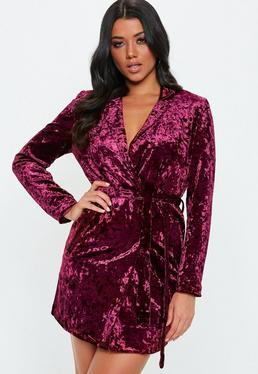 Carli Bybel X Missguided Burgundy Crushed Velvet Wrap Dress