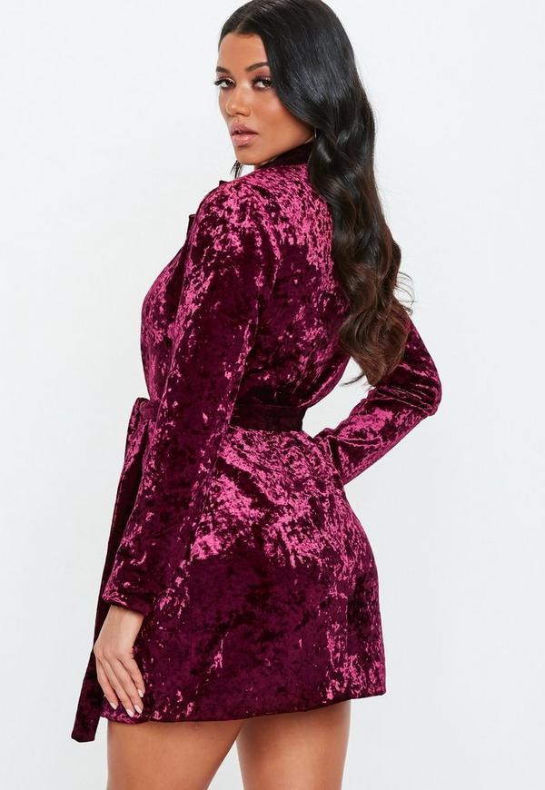 ca8b1addb770 Carli Bybel X Missguided Burgundy Crushed Velvet Wrap Dress