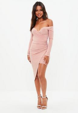 Pink Slinky Bardot Asymmetric Bodycon Dress