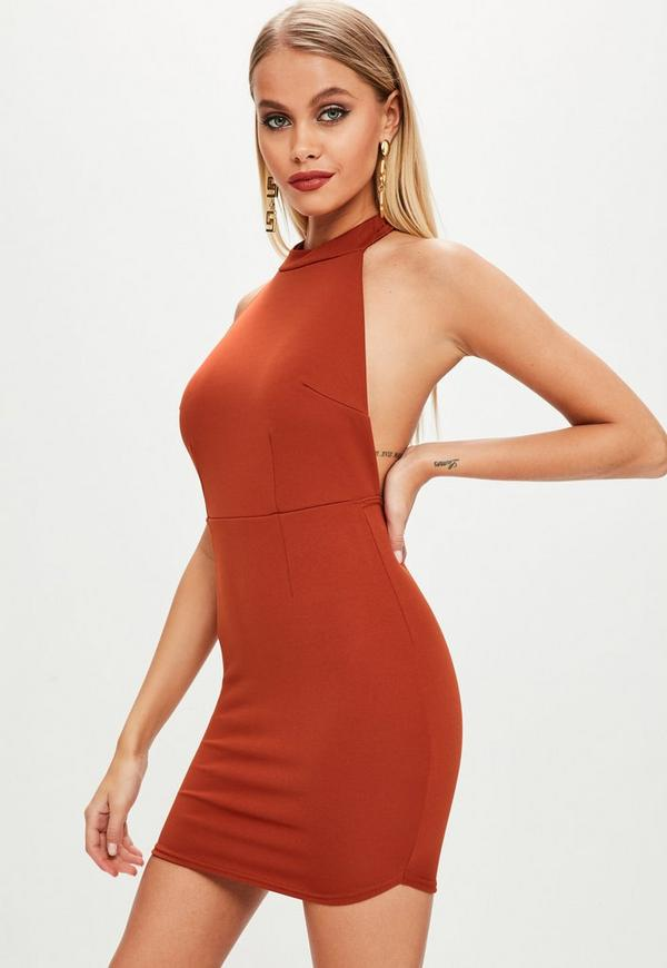 Rust Halterneck Backless Bodycon Dress Missguided