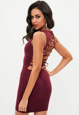 Burgundy Lace Up Mini Dress