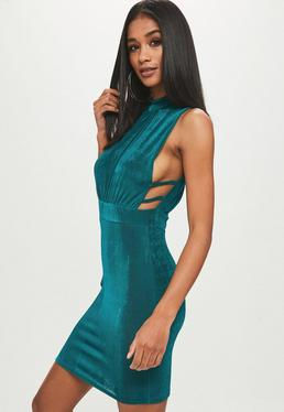 Teal slinky high neck dress