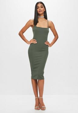 Green Strappy Midi Dress