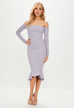 Purple Bardot Longsleeve Flippy Hem Dress