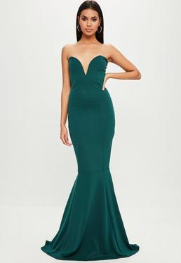 Green Bandeau Maxi Dress