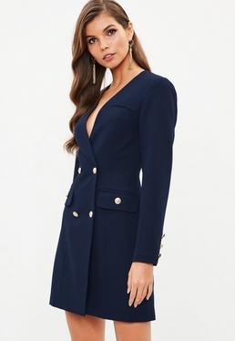Navy Satin Gold Button Blazer Dress