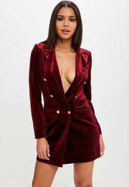 Burgundy Velvet Gold Button Blazer Dress