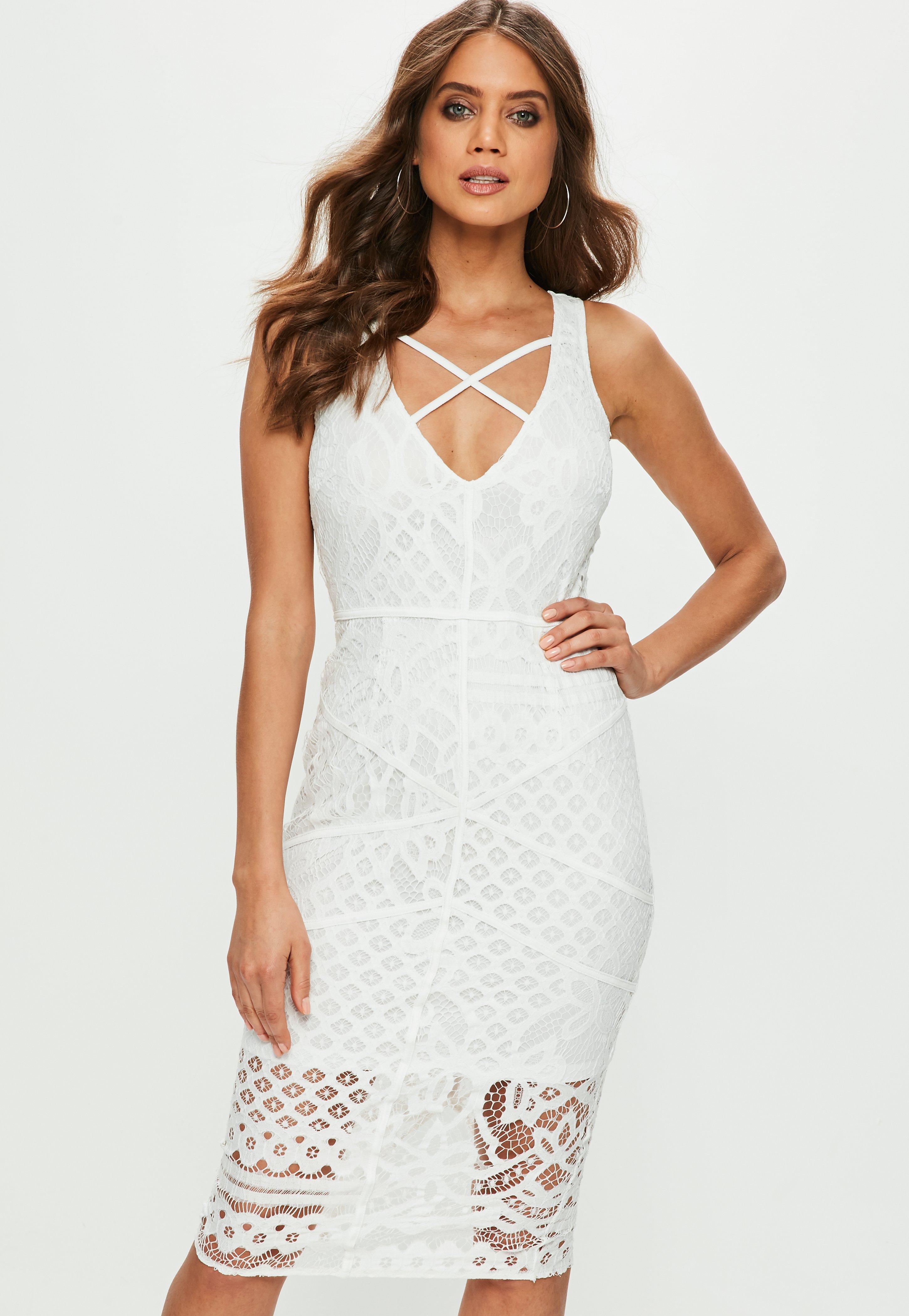 White bandage deep v dress with flat