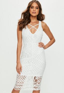 White Lace Cross Front Midi Dress