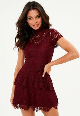 Burgundy short sleeve double layer skater dress