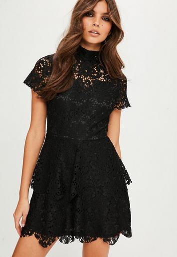 Black Short Sleeve Double Layer Skater Dress Missguided