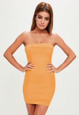 Yellow Faux Suede Bandeau Dress