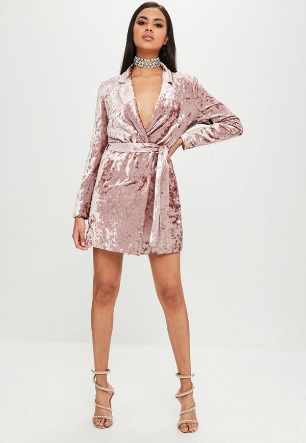 Carli Bybel X Missguided Pink Crushed Velvet Wrap Dress