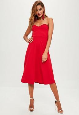 Red Sweetheart Bandeau Midi Dress