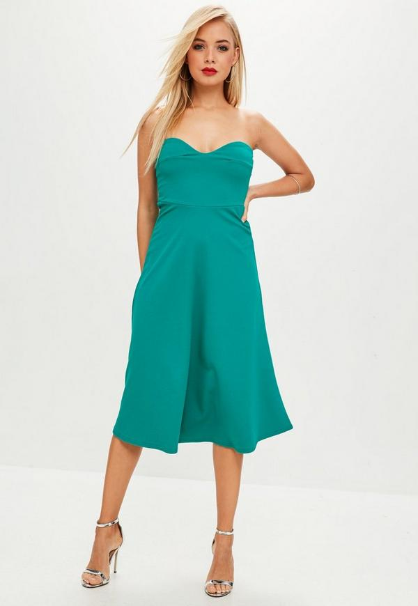 Green Teal Sweetheart Bandeau Midi Skater Dress | Missguided