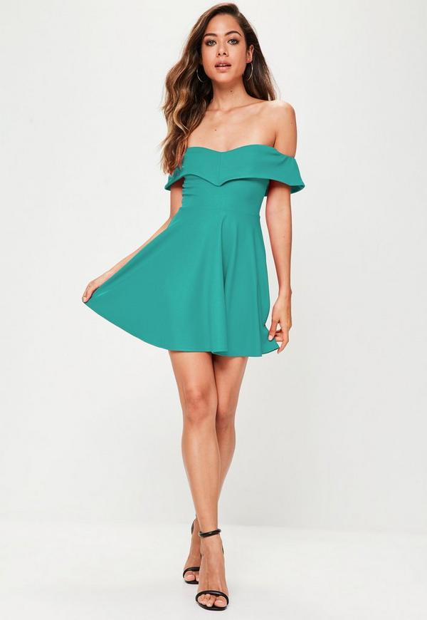 Blue Teal Wrap Bardot Skater Dress | Missguided