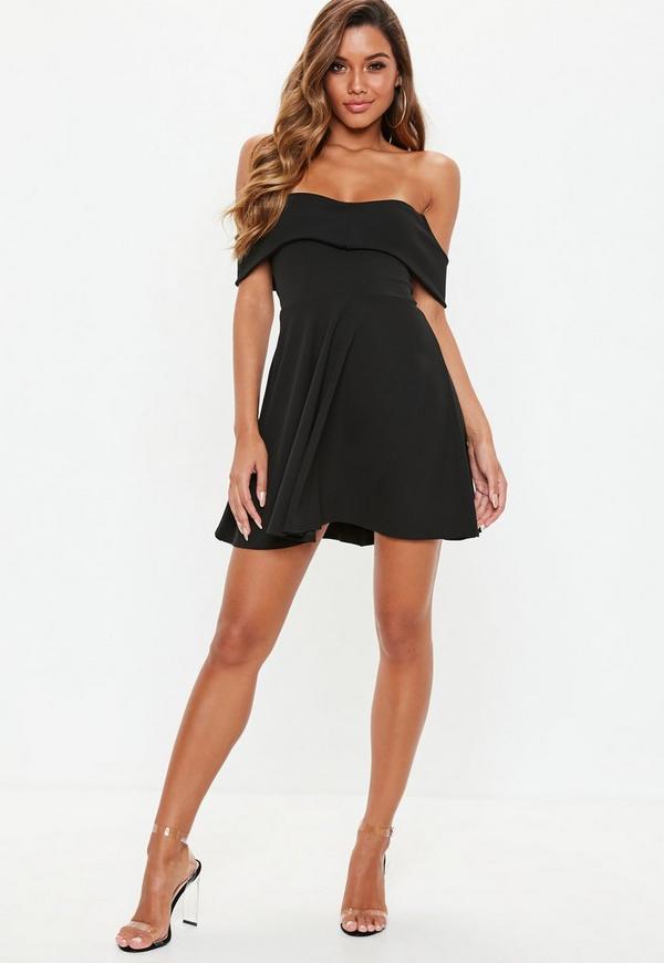 Black Bardot Skater Dress Missguided