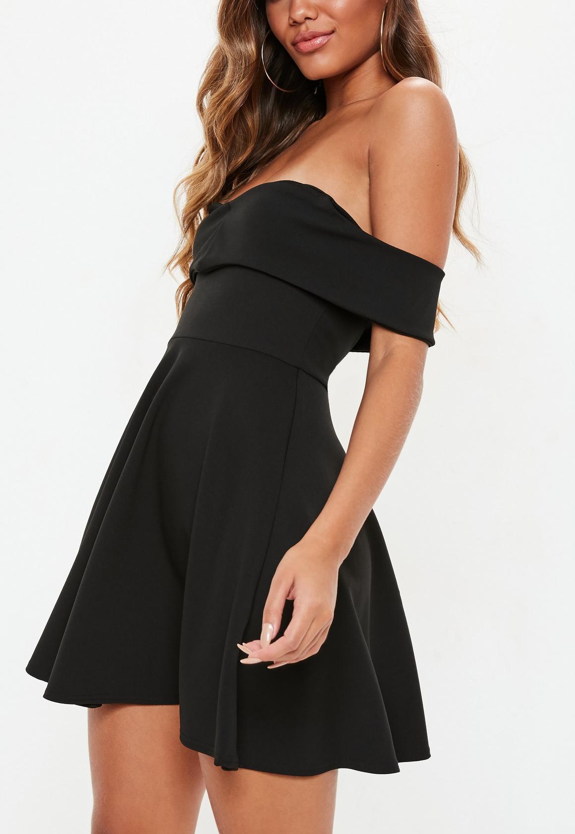 6501b221d1 Missguided - Black Wrap Bardot Skater Dress