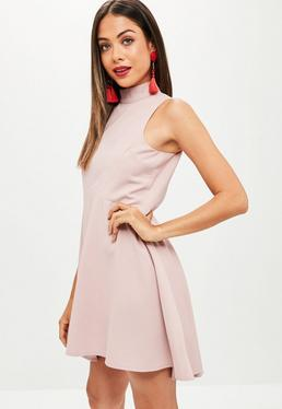 Pink High Neck Dipped Hem Skater Dress