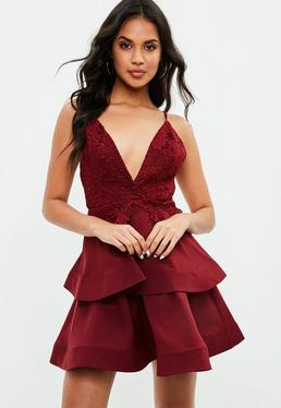 Burgundy Crochet Double Layer Plunge Dress