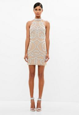 Peace + Love Nude Embellished Mini Dress