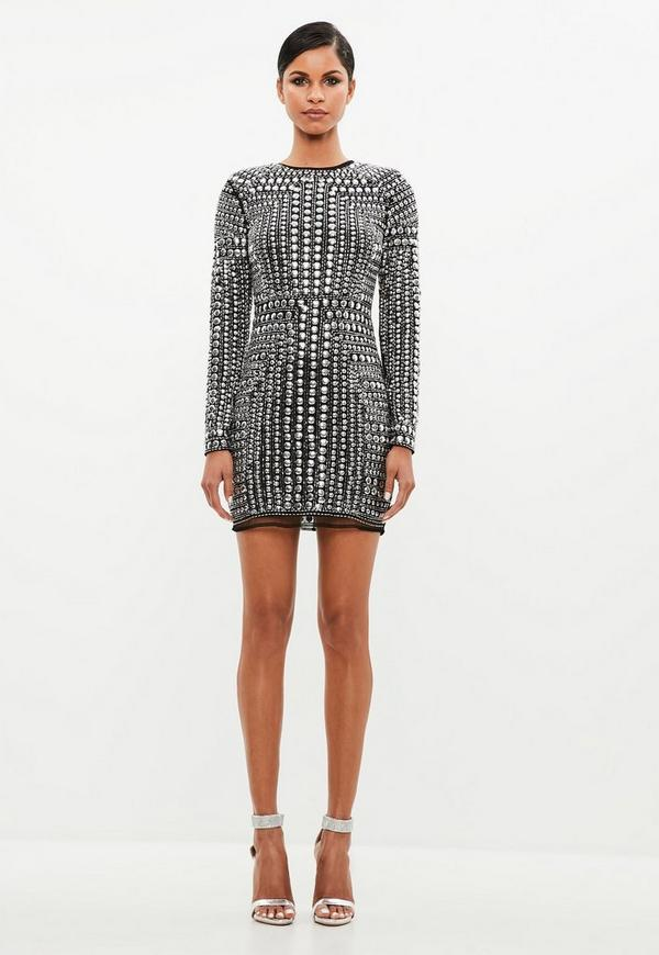 Peace Love Black Premium Stud Mini Dress Missguided