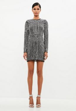 Peace + Love Black Premium Stud Mini Dress